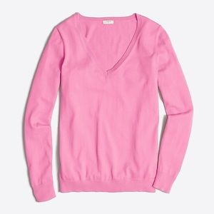 J Crew Cotton V Neck Sweater in Pink
